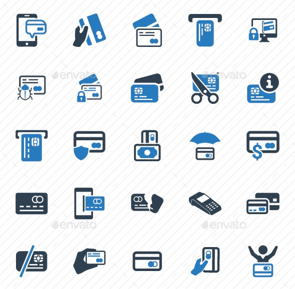 Credit Card Icons - Blue Version - Business Icons