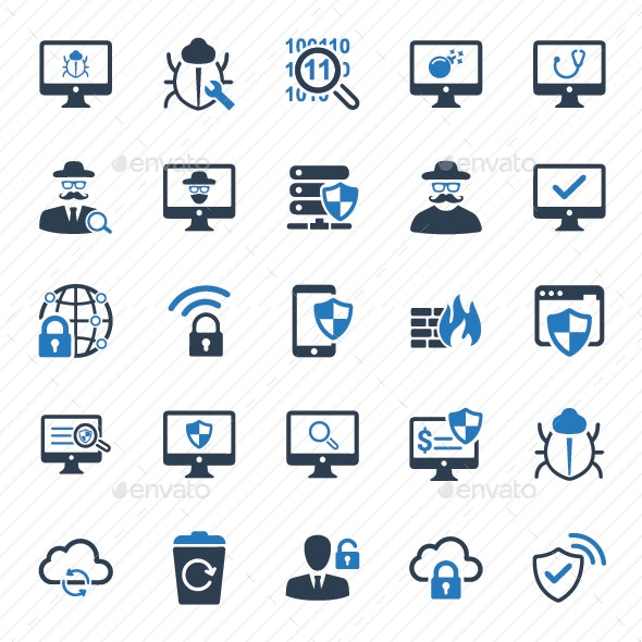 Cyber Security Icons - Blue Version - Technology Icons