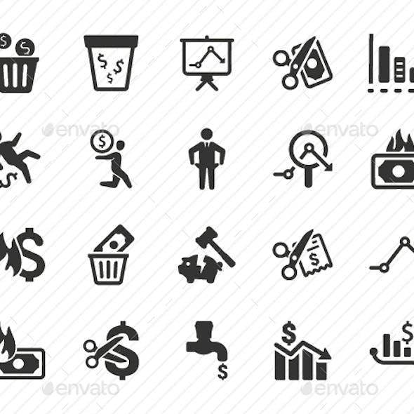 Financial Loss Icons - Gray Version