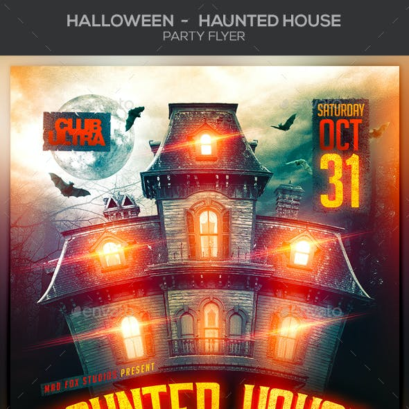 Halloween Haunted House Party Flyer