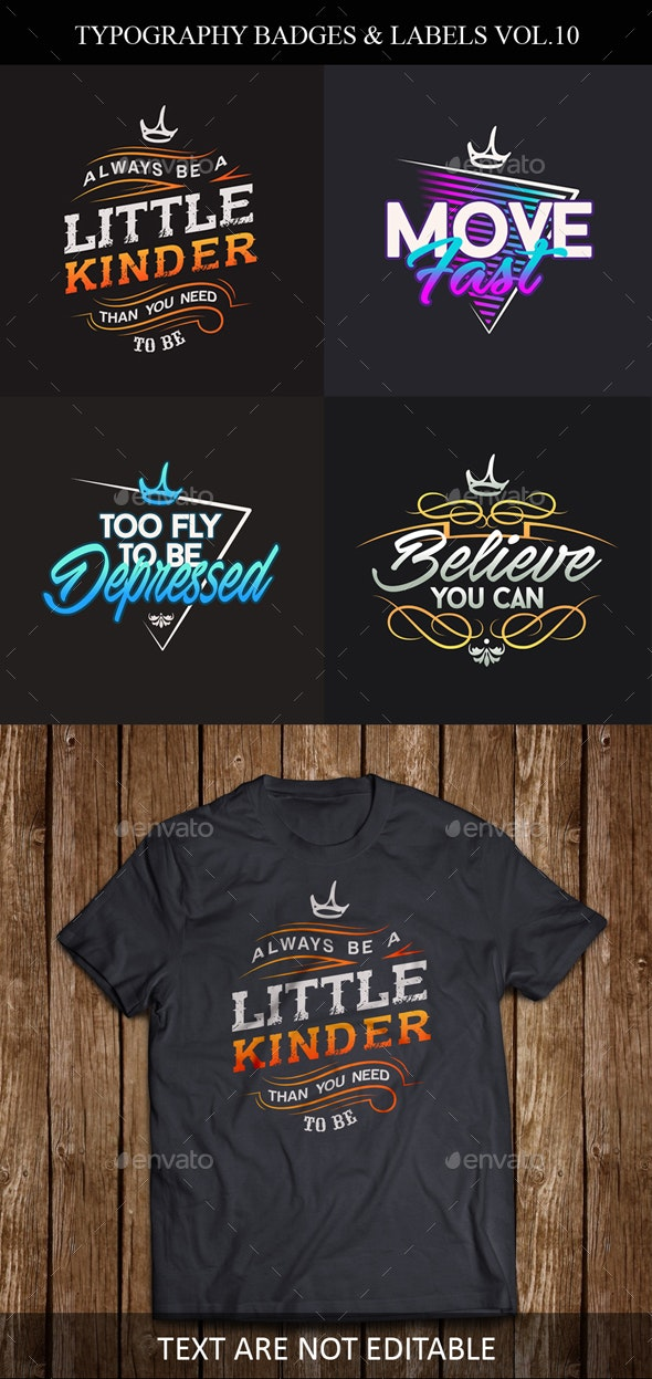 Typography Badges And Labels Vol.10 - Badges & Stickers Web Elements