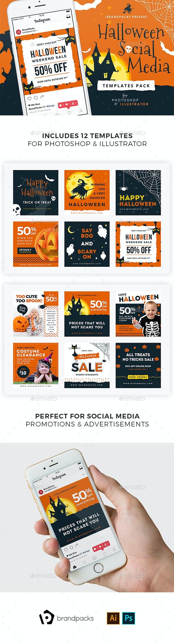 Halloween Social Media Templates - Social Media Web Elements