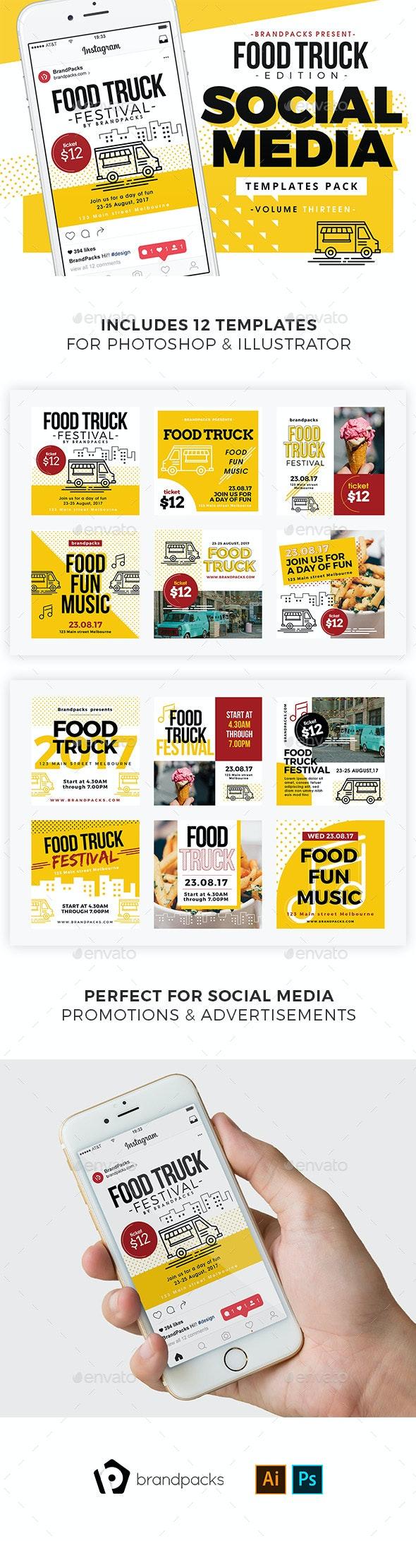 Food Truck Social Media Templates - Social Media Web Elements