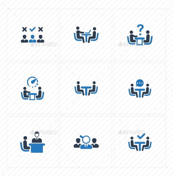 Job Interview Icons -  Blue Version - Business Icons