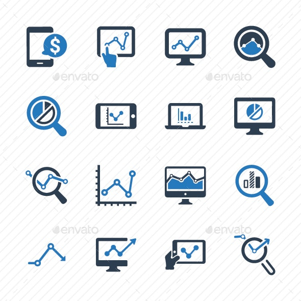 Marketing Research Icons - Blue Version - Business Icons