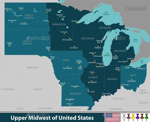 Upper Midwest of United States - Travel Conceptual