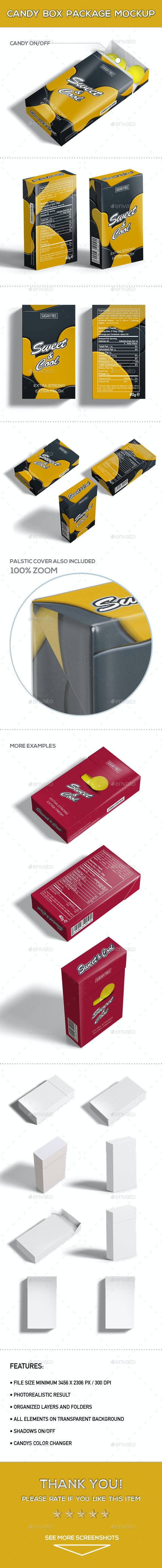 Candy Box Package Mock-Up - Product Mock-Ups Graphics