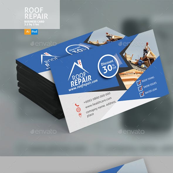 Roof Repair Business Card Design