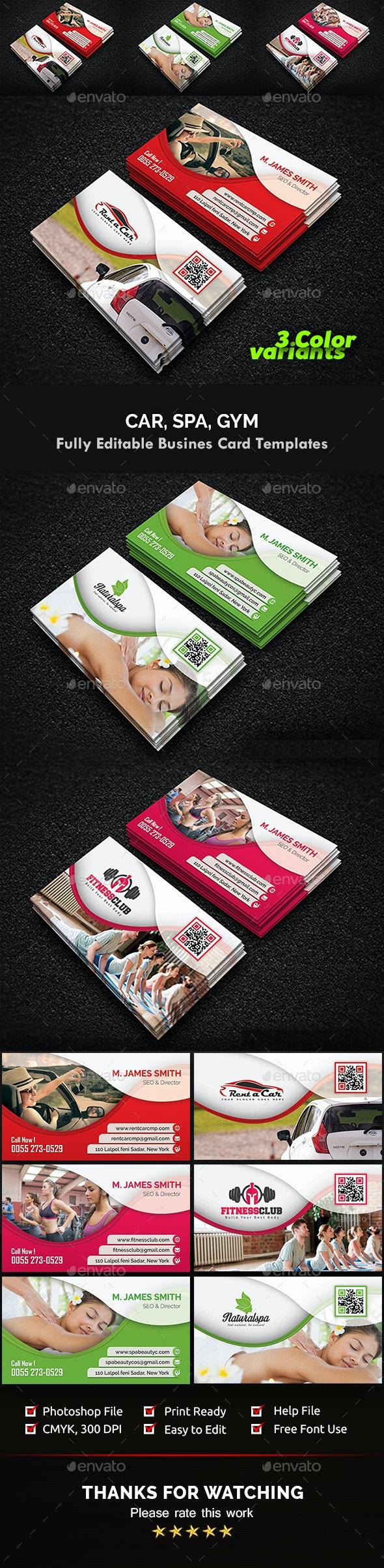 Gym, Spa & Car Business Card Templates - Creative Business Cards