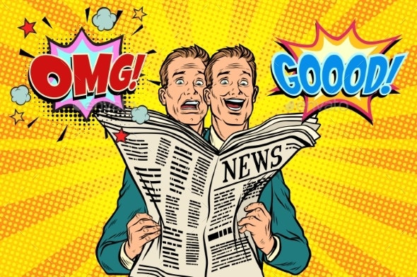 Good and Bad Newspaper News the Reaction of Men - People Characters