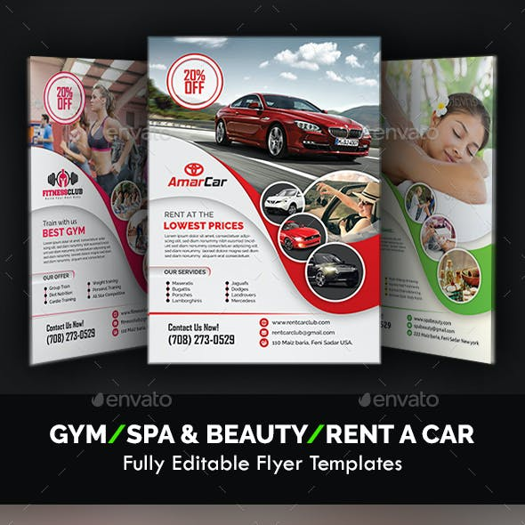 Gym, Spa & Car Flyer Templates