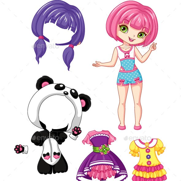 Girls Panda Vectors From Graphicriver