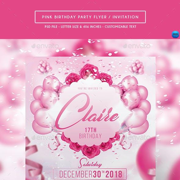 Pink Birthday Party Flyer / Invitation