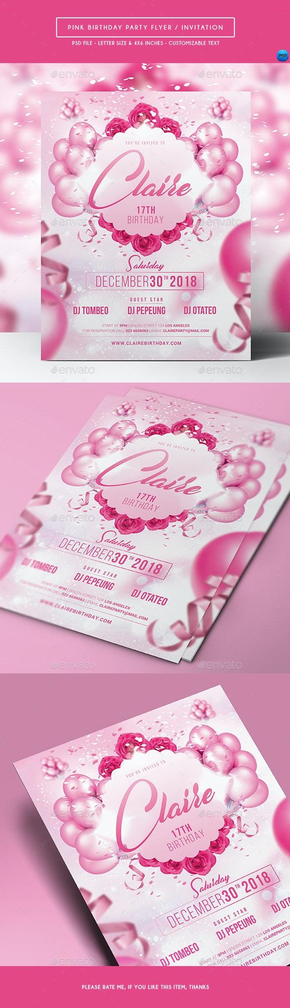 Pink Birthday Party Flyer / Invitation - Birthday Greeting Cards