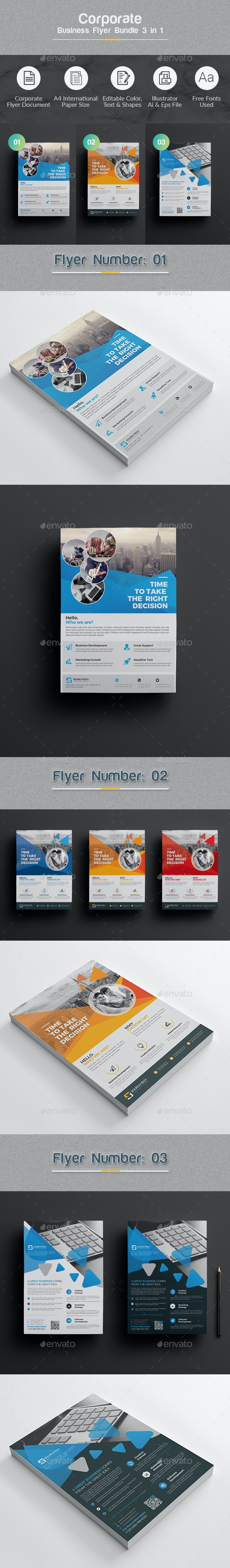 Flyer Template Bundle 3 in 1 - Corporate Flyers
