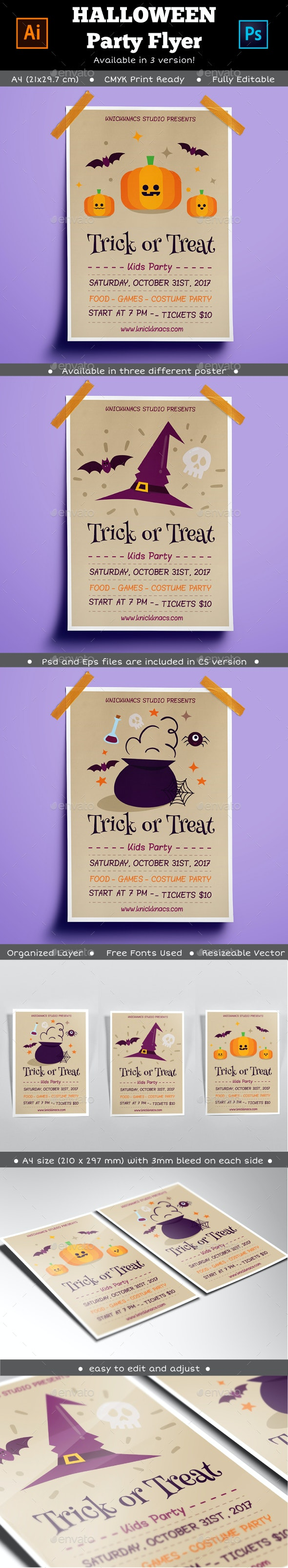 3 in 1 Halloween Poster Flyer - Events Flyers