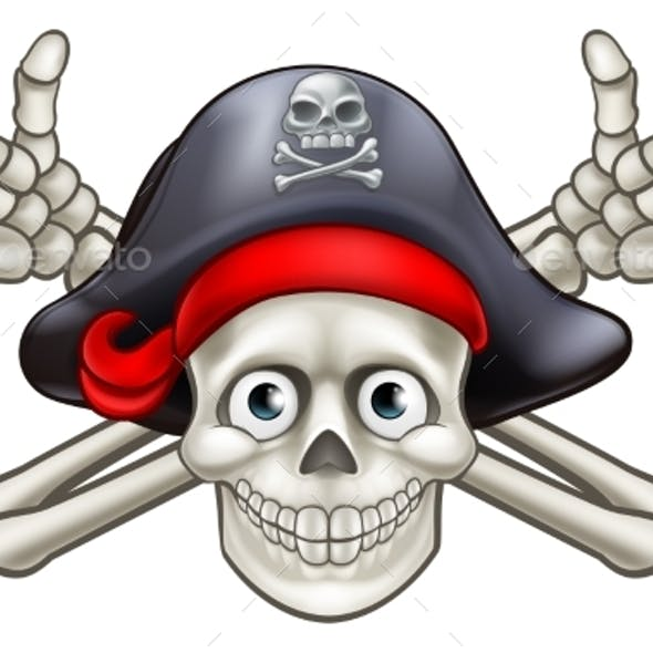 Skull and Crossbones Pirate Cartoon