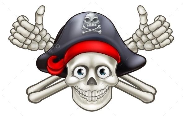 Skull and Crossbones Pirate Cartoon - Miscellaneous Vectors