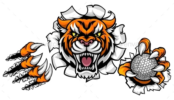Tiger Holding Golf Ball Breaking Background - Sports/Activity Conceptual