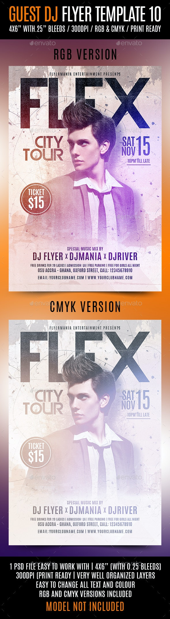 Guest DJ Flyer Template 10 - Clubs & Parties Events