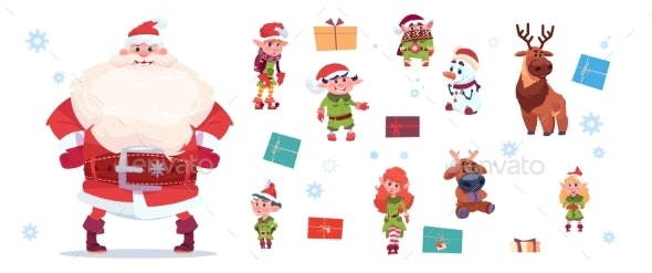 Santa Claus with Elves Set Isolated Characters - Christmas Seasons/Holidays
