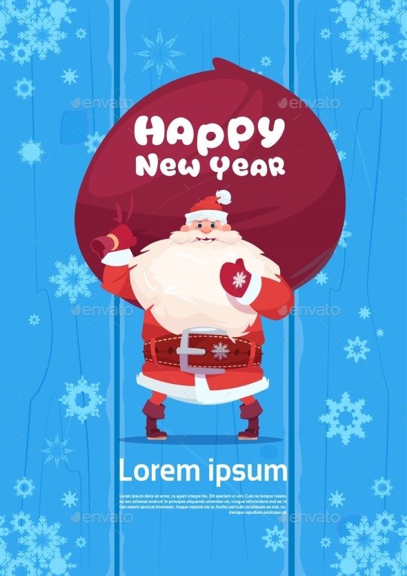Santa Claus with Gift Sack on Happy New Year Background - Christmas Seasons/Holidays