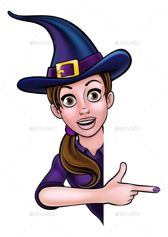 Halloween Witch Pointing at Sign - Halloween Seasons/Holidays