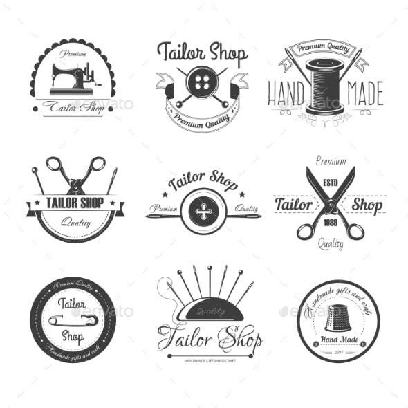 Tailor Shop Salon Vector Icons Button