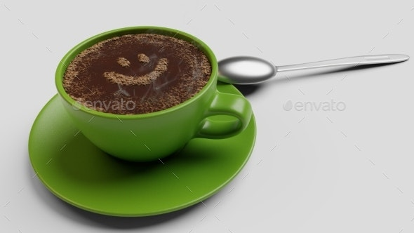 Green Cup of Coffee with Foam As Like 3d - Objects 3D Renders