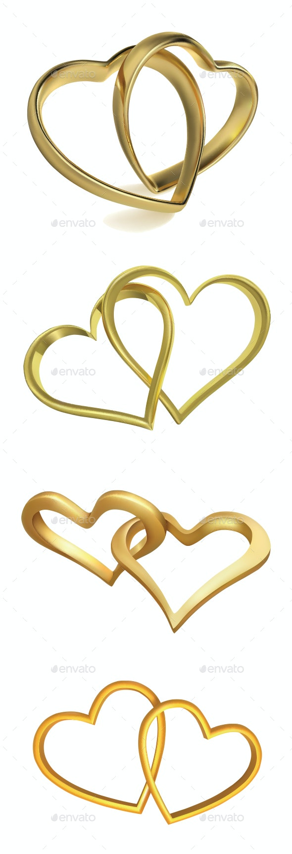 Heart Shaped Wedding Rings - Valentines Seasons/Holidays