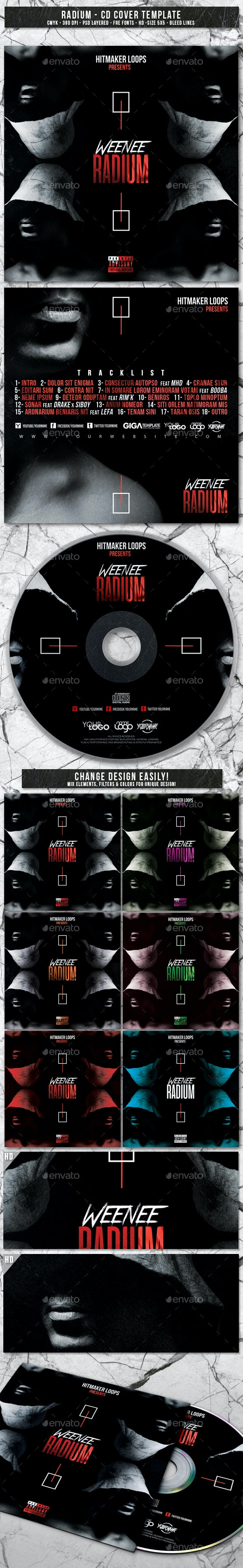 Radium | Album CD Mixtape Cover Template - CD & DVD Artwork Print Templates