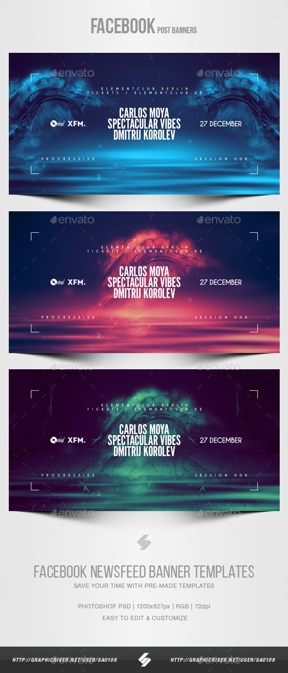 Electronic Music Party vol.35 - Facebook Post Banner Templates - Social Media Web Elements