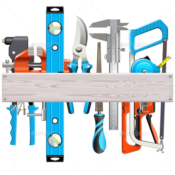 Vector Wooden Plank with Hand Tools - Industries Business