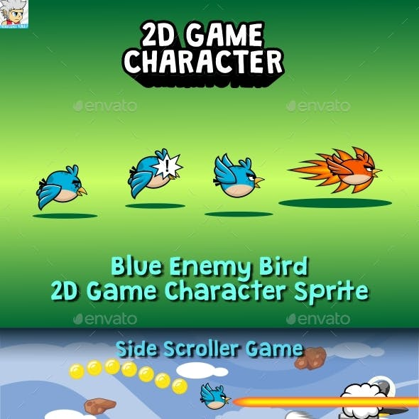 Blue Enemy Bird 2D Game Character Sprite