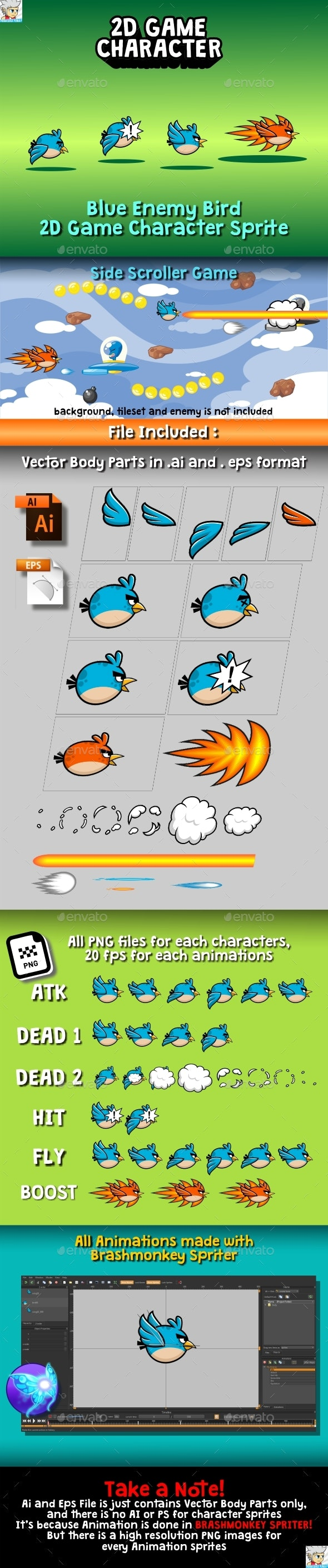 Blue Enemy Bird 2D Game Character Sprite - Sprites Game Assets