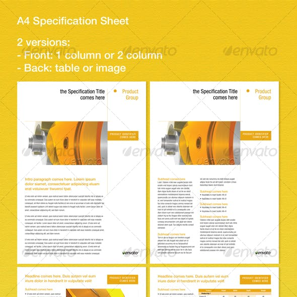 Specification Sheet Graphics Designs Templates