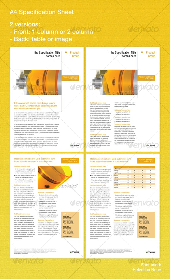 Specification sheets - Miscellaneous Print Templates