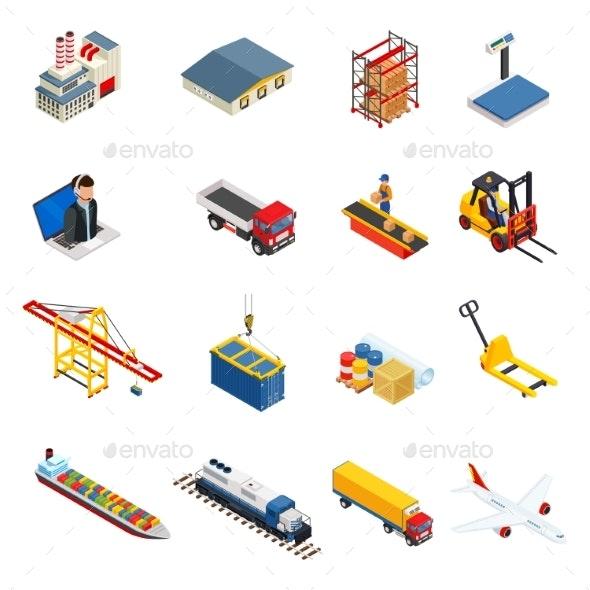 Global Logistics Isometric Icons Set - Industries Business