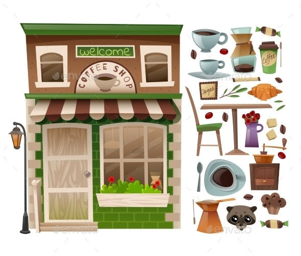 Coffee Shop Facade - Buildings Objects
