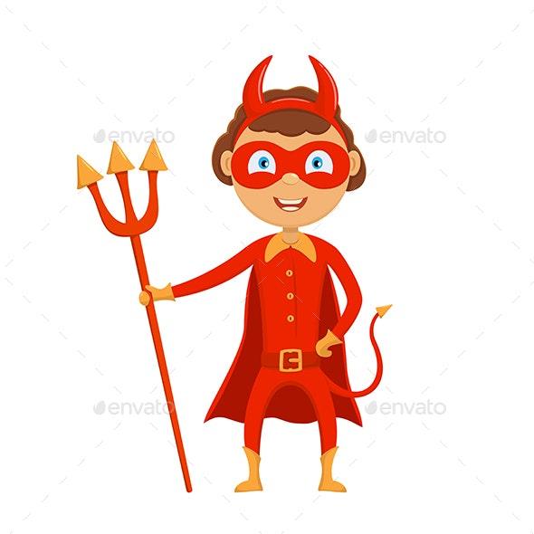 Halloween Kid in Red Costume of Devil - Halloween Seasons/Holidays