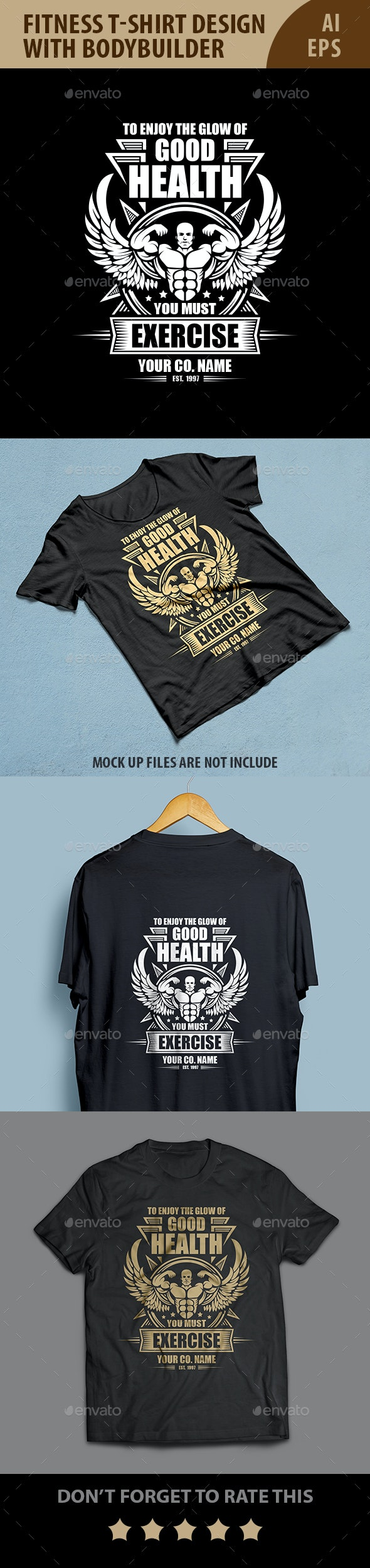 Fitness T-shirt design with bodybuilder - Sports & Teams T-Shirts