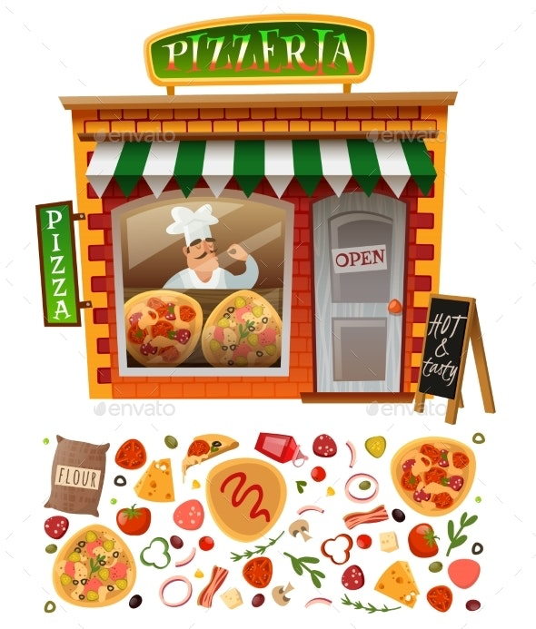 Pizzeria Shop Facade - Food Objects