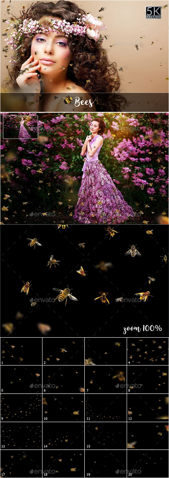5K Bees Overlays - Nature Backgrounds