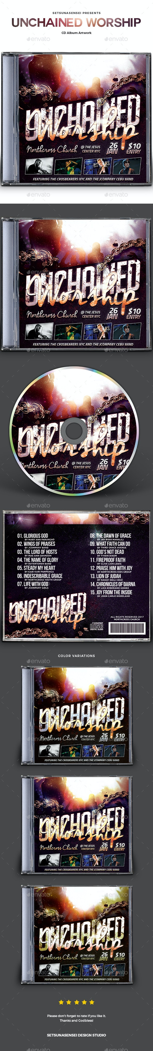Unchained Worship CD Album Artwork - CD & DVD Artwork Print Templates