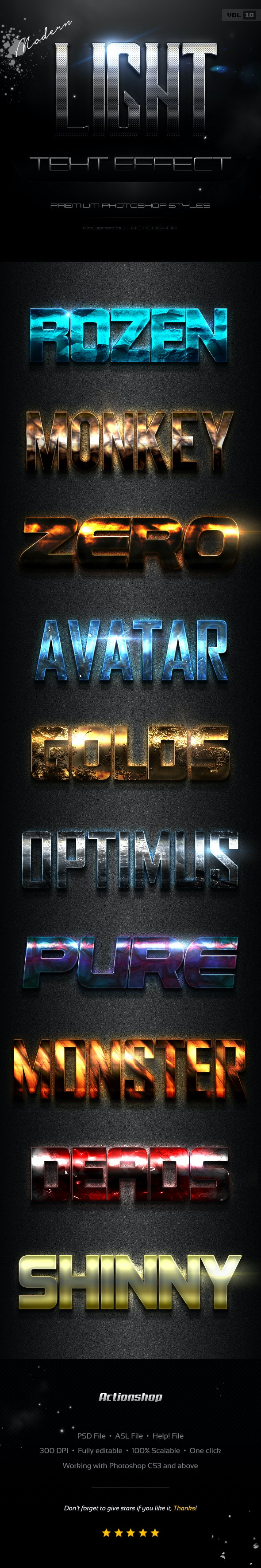 10 Modern Light Text Effects Vol.10 - Text Effects Styles