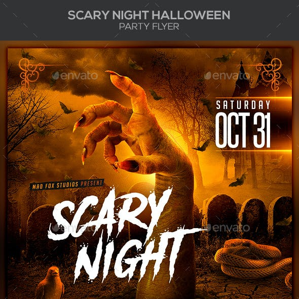 Scary Night Halloween Party Flyer