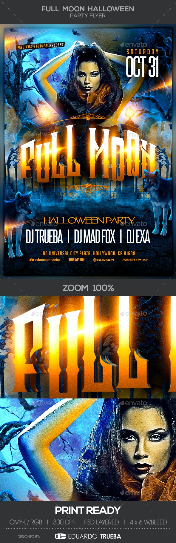 Full Moon Halloween Party Flyer - Clubs & Parties Events