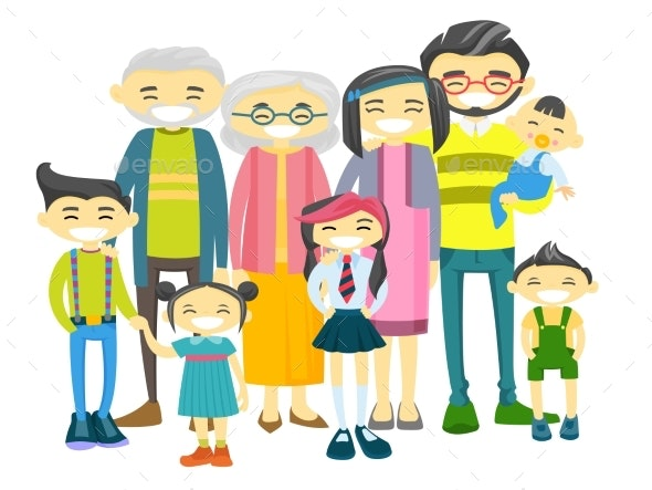 Extended Asian Family with Many Children - People Characters