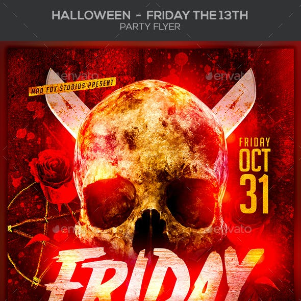 Halloween Friday the 13 Th Party Flyer
