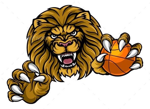 Lion Basketball Ball Sports Mascot - Sports/Activity Conceptual